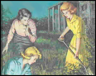 Illustration of Nancy Drew and friends Bess and George, digging outside