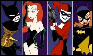 Illustration collage of Catwoman, Poison Ivy, Harley Quinn and Batgirl