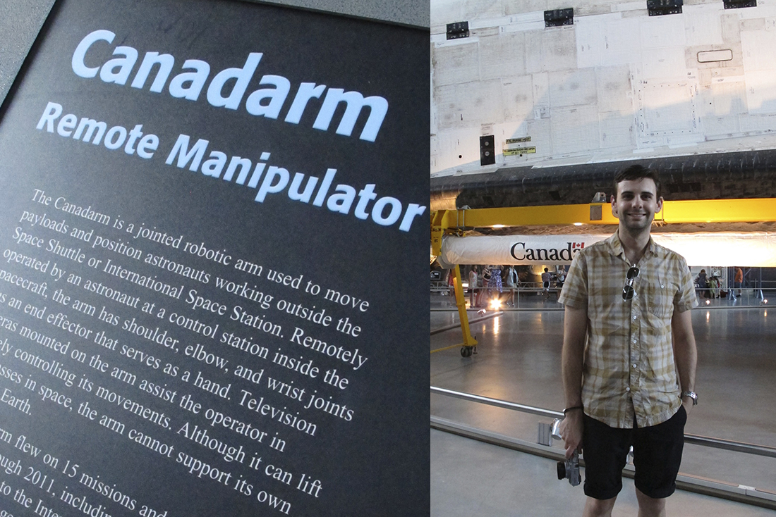 Robin in front of the Canadarm