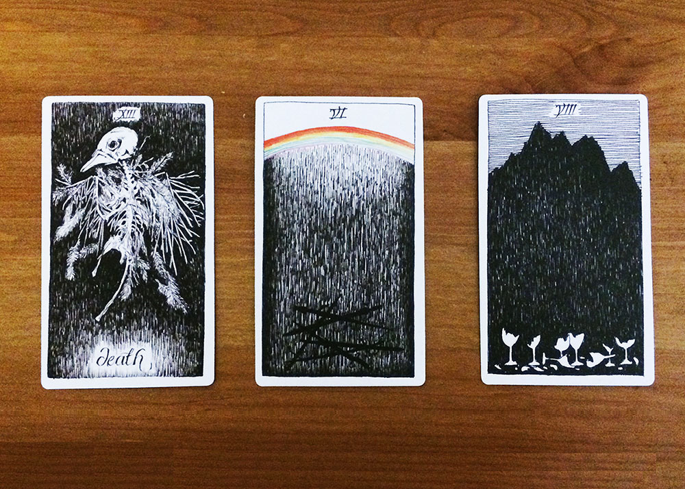 Death tarot card, Six of Swords, Eight of Cups in a line